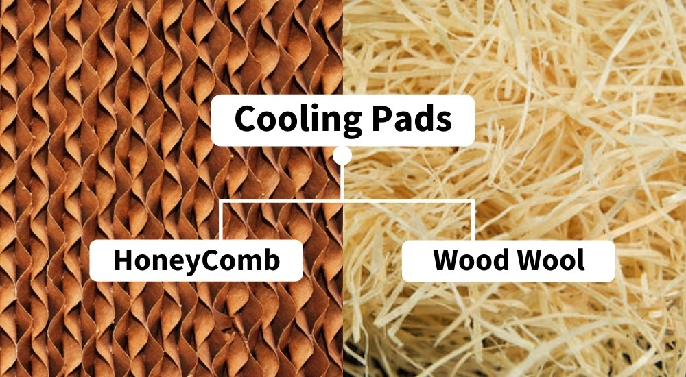 cooling pads wood wool and honeycomb