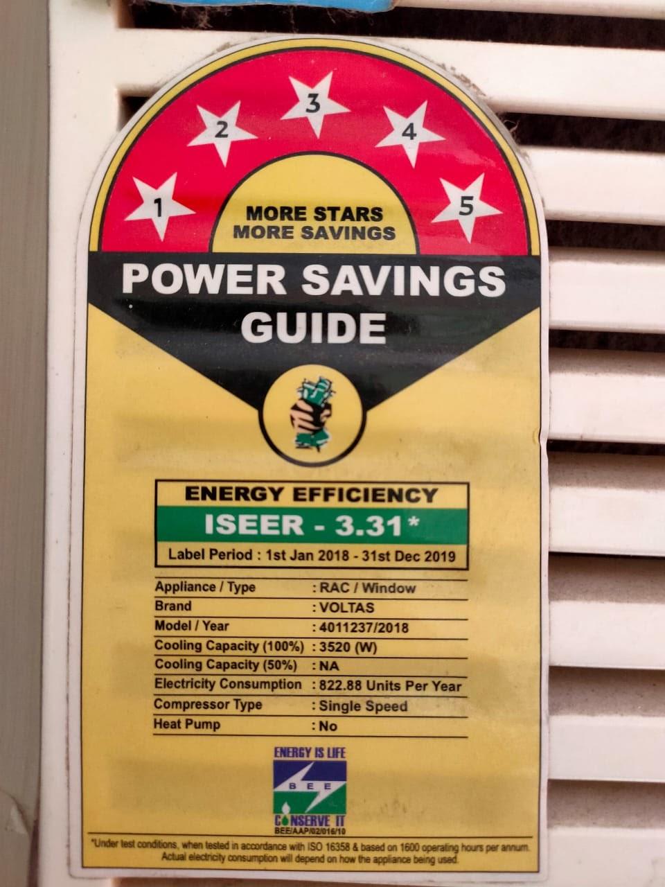power label for voltas 1 ton AC