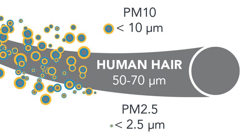 PM2.5 size comparision for human hair
