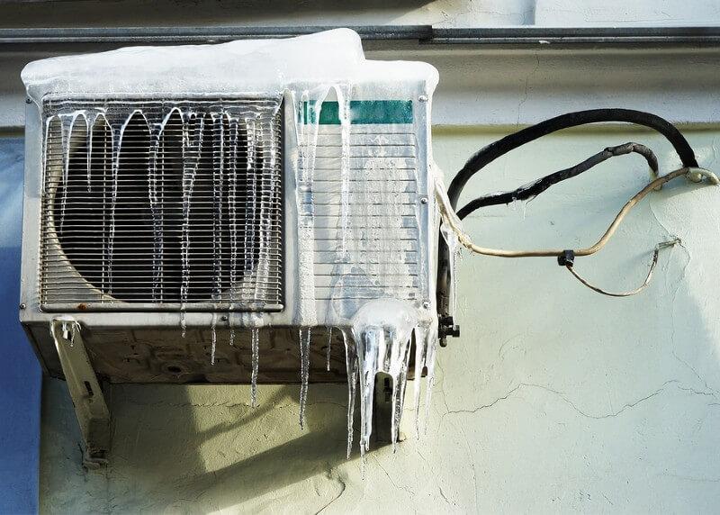ice buildup on air conditinoner outdoor unit