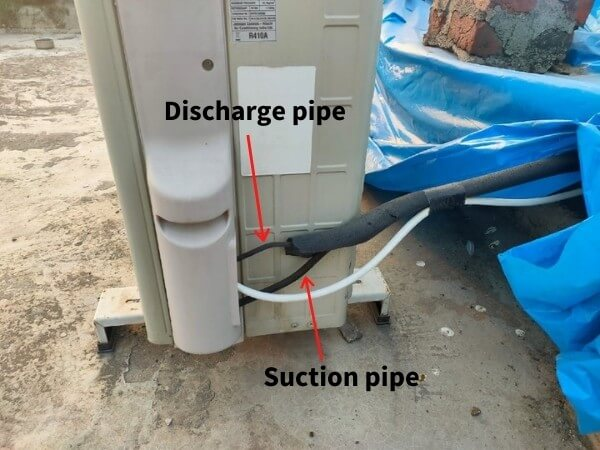 suction and discharge pipes in split ac outdoor unit
